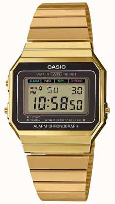 Casio | coleção | pulseira de aço banhado a ouro | mostrador digital A700WEG-9AEF