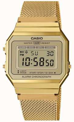 Casio | coleção | pulseira de malha de aço | discagem digital A700WEMG-9AEF