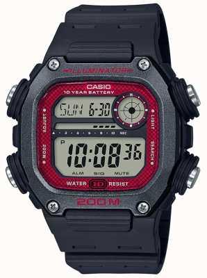 Casio | coleção | pulseira de borracha preta | mostrador preto / vermelho DW-291H-1BVEF