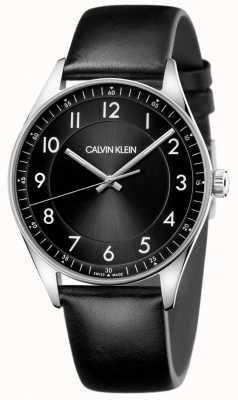 Calvin Klein | brilhante | pulseira de couro preto | mostrador preto | KBH211C1