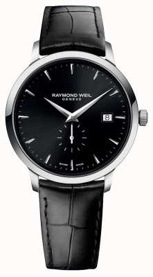 Raymond Weil Masculino | toccata | pulseira de couro preta | mostrador preto 5484-STC-20001