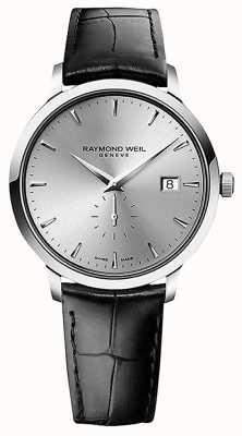 Raymond Weil Homens | toccata | pulseira de couro preto | mostrador prateado 5484-STC-65001