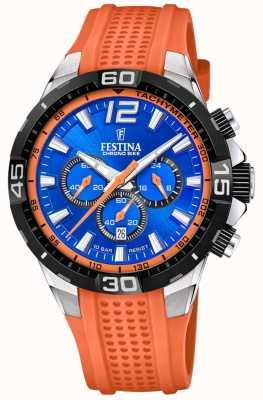 Festina Chrono bike 2020 blue dial pulseira de laranja F20523/6