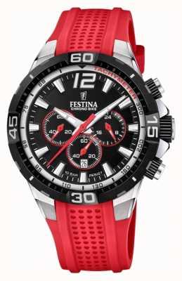 Festina Chrono bike 2020 black dial pulseira vermelha F20523/7