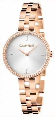 Calvin Klein Elegância pulseira em aço inoxidável ouro rosa | mostrador prateado KBF23X4W