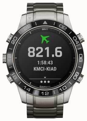 Garmin Marq aviator | pulseira de titânio e pulseira de borracha preta 010-02006-04