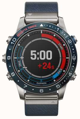 Garmin Capitão Marq | pulseira de nylon azul e pulseira de borracha preta 010-02006-07