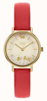 Radley Corações do amor das mulheres | pulseira de couro vermelho | mostrador creme RY2988