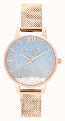Olivia Burton Onda desejando | mostrador de glitter | pulseira de malha de ouro rosa OB16EX204