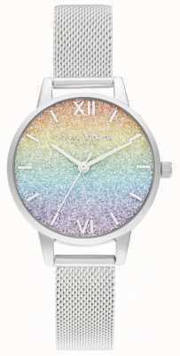 Olivia Burton Pulseira de malha de prata para mulher | mostrador de glitter multicolorido OB16GD69