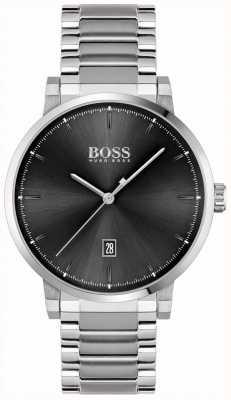 BOSS | confiança dos homens | pulseira de aço inoxidável | mostrador preto 1513792