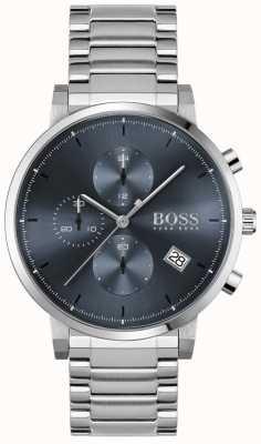 BOSS | integridade masculina | pulseira de aço inoxidável | mostrador azul 1513779