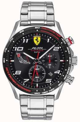 Scuderia Ferrari | pilota evo para homem | pulseira de aço inoxidável | mostrador preto 0830720