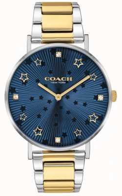 Coach | perada das mulheres | pulseira de aço bicolor | discagem estrela azul 14503523