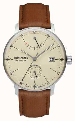 Iron Annie Bauhaus automático | pulseira de couro marrom claro | mostrador bege 5060-5