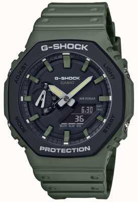 Casio G-shock núcleo de carbono | pulseira de borracha verde | tela digital GA-2110SU-3AER