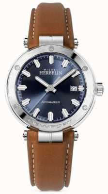 Michel Herbelin | newport para homem | pulseira de couro marrom | mostrador azul 1668/15GO