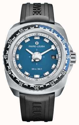 Favre Leuba Raider azul profundo 41 | pulseira de borracha preta | mostrador azul | 00.10106.08.52.31