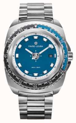 Favre Leuba Raider azul profundo 44 | pulseira de aço inoxidável | mostrador azul | 00.10102.08.52.20