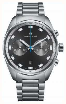 Favre Leuba Sky cronógrafo chefe | pulseira de aço inoxidável | mostrador preto 00.10202.08.11.20