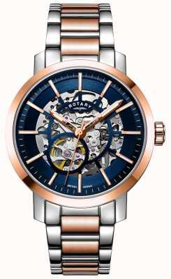Rotary Greenwich g2 automático | pulseira de dois tons | mostrador esqueleto GB05352/05