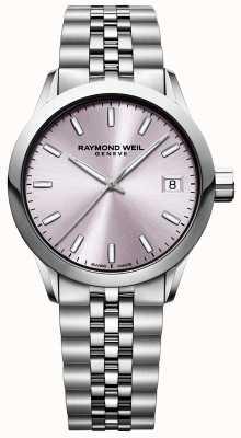 Raymond Weil Freelancer de mulheres | pulseira de aço inoxidável | mostrador rosa 5634-ST-80021