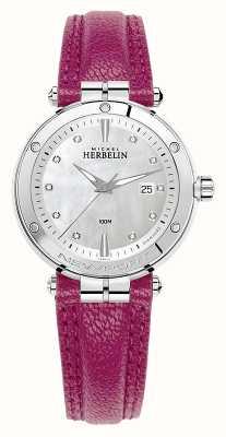 Michel Herbelin Newport diamond set dial pulseira de couro fuschia 14288/AP89FU