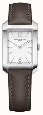 Baume & Mercier Lady hampton | mostrador opalino em prata | pulseira de couro liqourice M0A10471