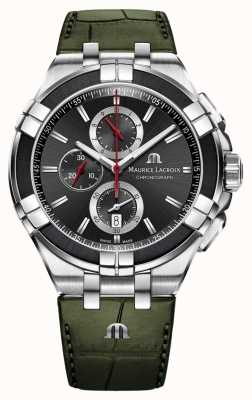 Maurice Lacroix Cronógrafo Aikon | pulseira de couro verde | mostrador preto AI1018-PVB21-330-1