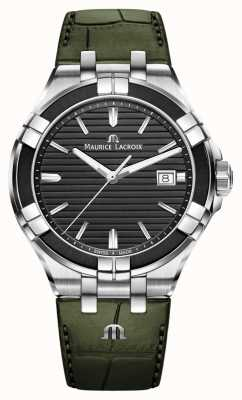 Maurice Lacroix Quartzo Aikon | pulseira de couro verde | mostrador preto AI1008-PVB21-330-1