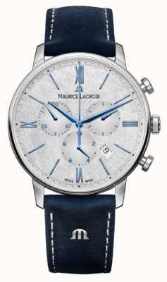 Maurice Lacroix Cronógrafo Eliros | pulseira de couro azul | mostrador prateado EL1098-SS001-114-1