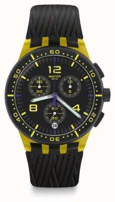 Swatch Pneu amarelo | pulseira de silicone preta | mostrador preto / amarelo SUSJ403