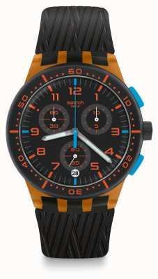 Swatch Pneu laranja | pulseira de silicone preta | mostrador preto SUSO401