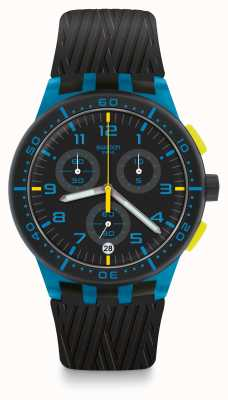Swatch Pneu azul | pulseira de silicone preta | mostrador preto / azul SUSS402