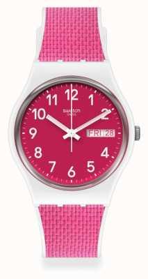 Swatch Berry light | pulseira de borracha rosa | mostrador rosa GW713