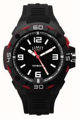 Limit | pulseira de borracha preta para homem | mostrador preto | moldura vermelha / preta 5789.65