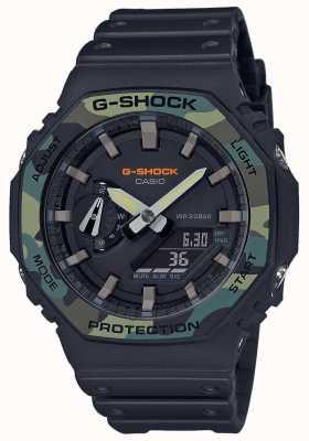 Casio G-shock moldura em camadas | pulseira de borracha preta | caixa de carbono GA-2100SU-1AER