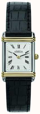 Michel Herbelin Art deco feminino | pulseira de couro preta | mostrador prateado 17478/T08
