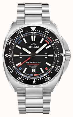 Delma Oceanmaster quartzo | pulseira de aço inoxidável | mostrador preto 41701.676.6.038