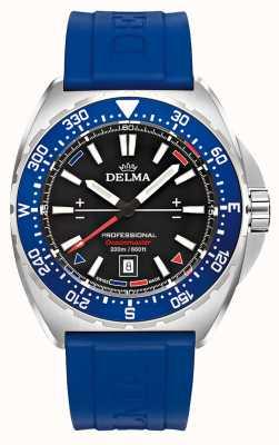 Delma Oceanmaster quartzo | pulseira de borracha azul | mostrador preto 41501.676.6.048