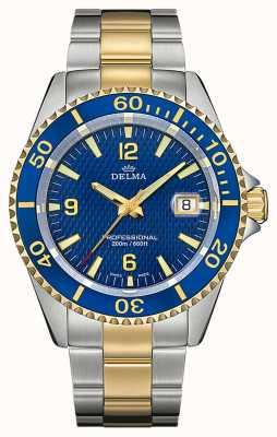 Delma Quartzo de Santiago | pulseira de aço bicolor | moldura azul 52701.562.6.044