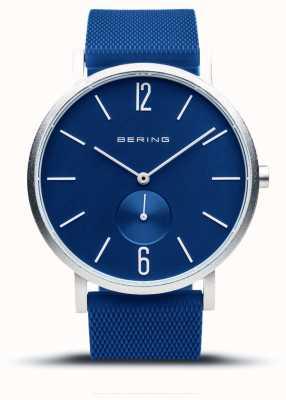 Bering Aurora verdadeira | pulseira de borracha azul | mostrador azul 16940-709