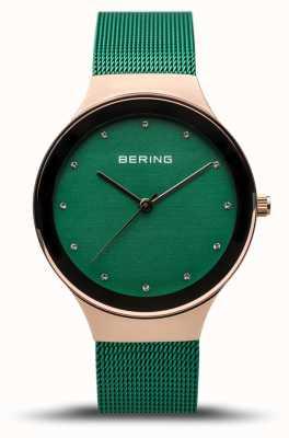 Bering Clássico das mulheres | ouro rosa polido | cinta de malha verde | 12934-868