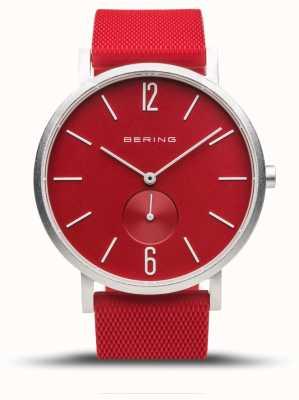 Bering Aurora verdadeira | pulseira de borracha vermelha | mostrador vermelho 16940-509