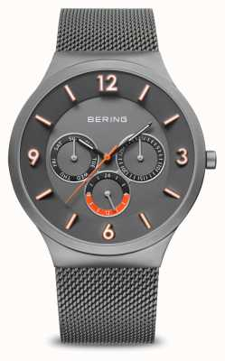 Bering Clássico dos homens | cinza escovado | pulseira de malha cinza | 33441-377
