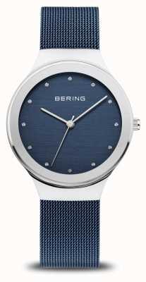 Bering Clássico das mulheres | prata polida | pulseira de malha azul 12934-307