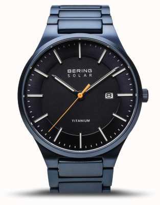 Bering Titânio masculino | solar | escovado azul | pulseira de titânio azul 15239-797