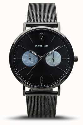 Bering Clássico das mulheres | preto polido | pulseira de malha preta 14236-123