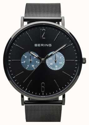 Bering Clássico unisex | preto polido | pulseira de malha preta 14240-123