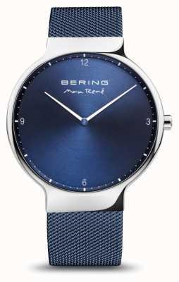 Bering Max rené | prata polida | pulseira de malha azul 15540-307